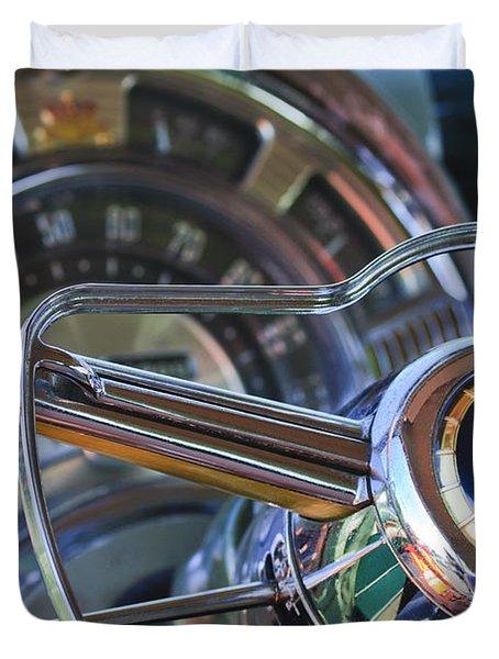 1950 Chrysler New Yorker Coupe Steering Wheel Emblem Duvet Cover by Jill Reger