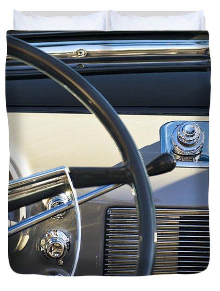 1950 Oldsmobile Rocket 88 Steering Wheel 3 Duvet Cover by Jill Reger