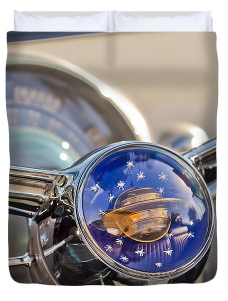 1950 Oldsmobile Rocket 88 Steering Wheel Duvet Cover by Jill Reger