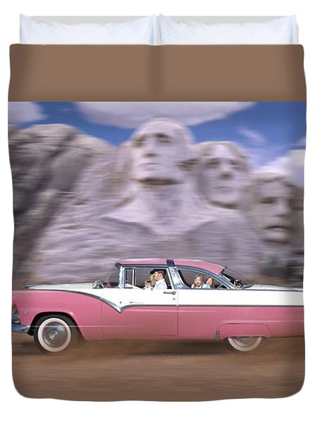 1950s Family Vacation Panoramic Duvet Cover by Mike McGlothlen
