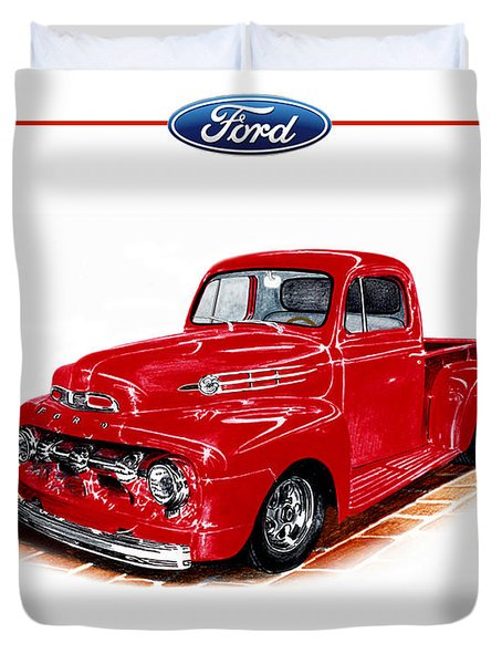 1952 Ford F-100 Pick Up Duvet Cover by Jack Pumphrey