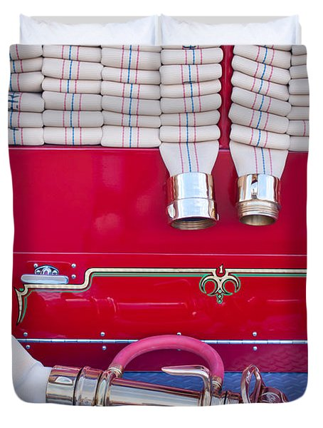 1952 L Model Mack Pumper Fire Truck Hoses Duvet Cover by Jill Reger