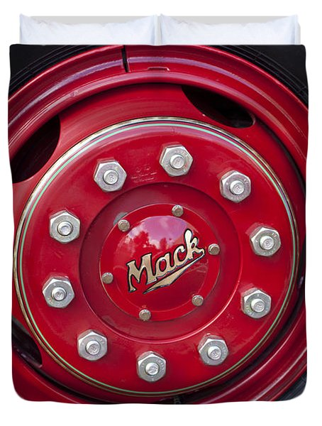 1952 L Model Mack Pumper Fire Truck Wheel Duvet Cover by Jill Reger