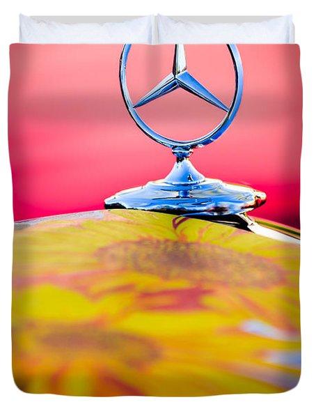 1952 Mercedes-benz 220 A Cabriolet Hood Ornament Duvet Cover by Jill Reger