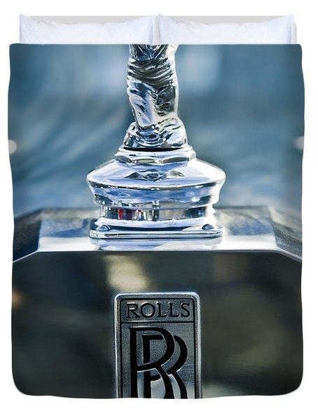 1952 Rolls-Royce Hood Ornament Duvet Cover by Jill Reger