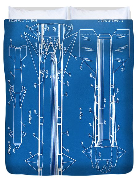 1953 Aerial Missile Patent Blueprint Duvet Cover by Nikki Marie Smith