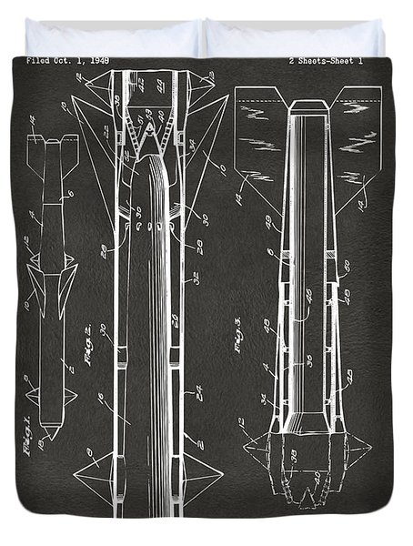 1953 Aerial Missile Patent Gray Duvet Cover by Nikki Marie Smith