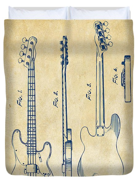 1953 Fender Bass Guitar Patent Artwork - Vintage Duvet Cover by Nikki Marie Smith