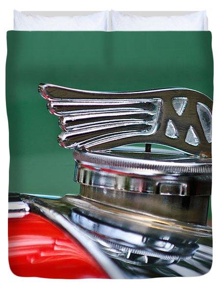 1953 Morgan plus 4 Le Mans TT Special Hood Ornament Duvet Cover by Jill Reger