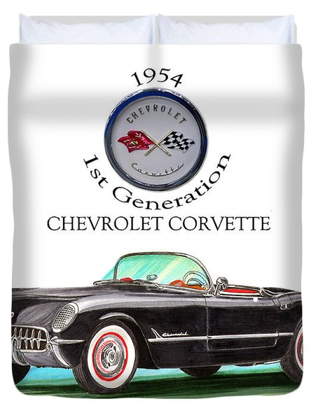 1954 Corvette First Generation Duvet Cover by Jack Pumphrey