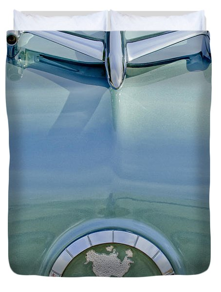 1954 Oldsmobile Super 88 Hood Ornament Duvet Cover by Jill Reger