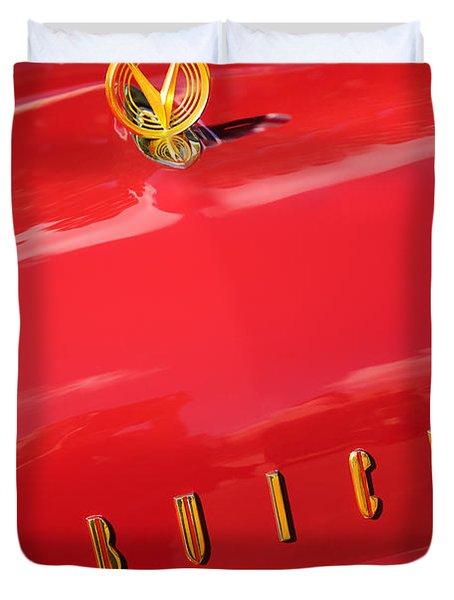 1955 Buick Roadmaster Hood Ornament - Emblem Duvet Cover by Jill Reger