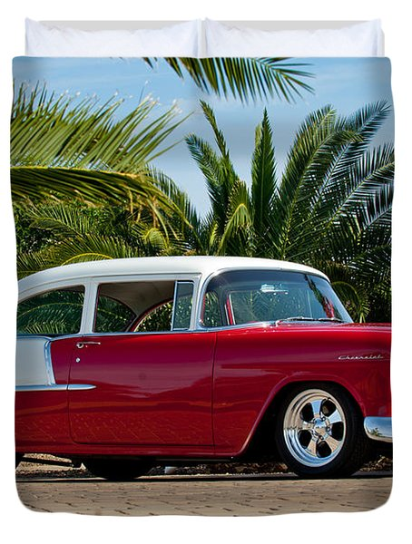 1955 Chevrolet 210 Duvet Cover by Jill Reger