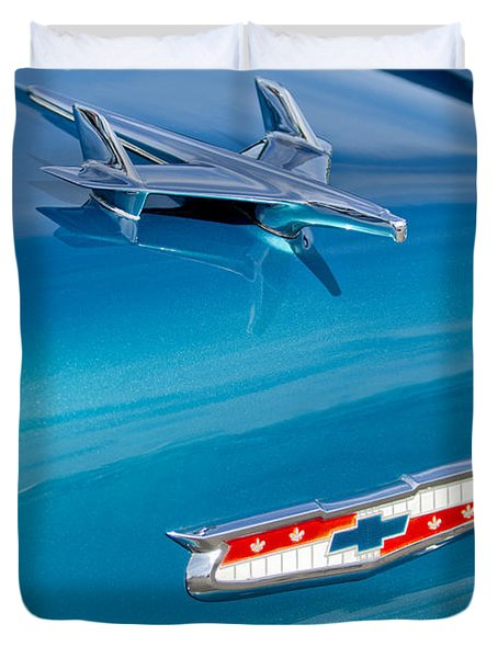 1955 Chevrolet Belair Hood Ornament 7 Duvet Cover by Jill Reger