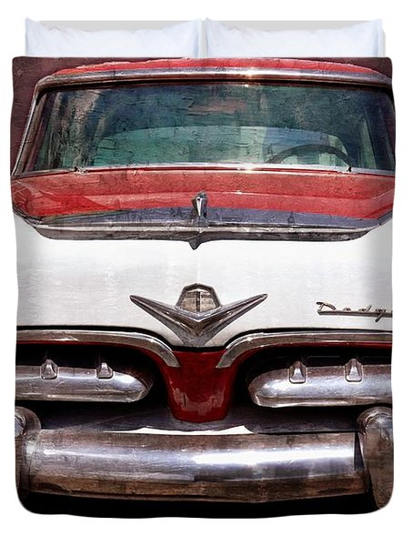 1955 Dodge In Oil Duvet Cover by Steve Kelley