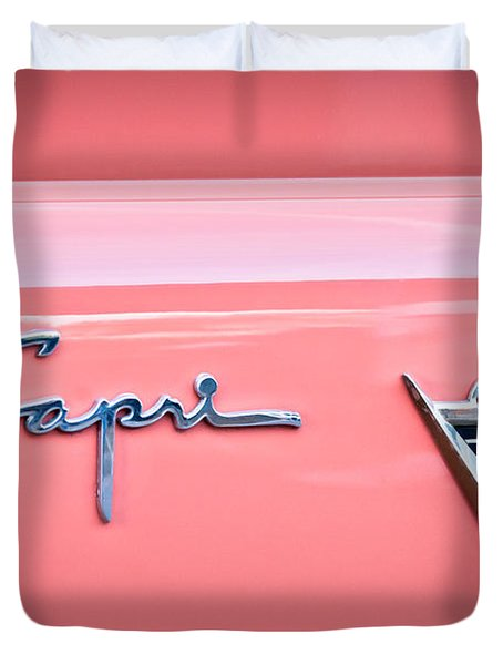 1955 Lincoln Capri Emblem 2 Duvet Cover by Jill Reger