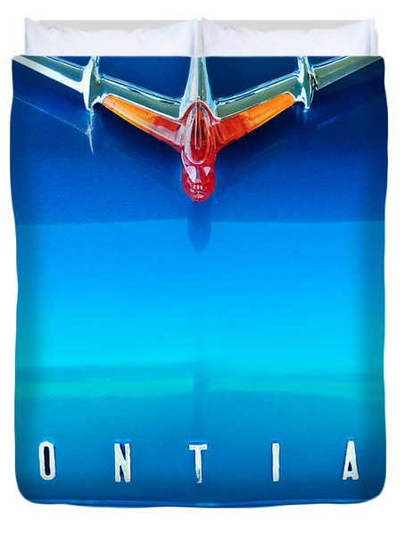 1955 Pontiac Safari Hood Ornament 4 Duvet Cover by Jill Reger