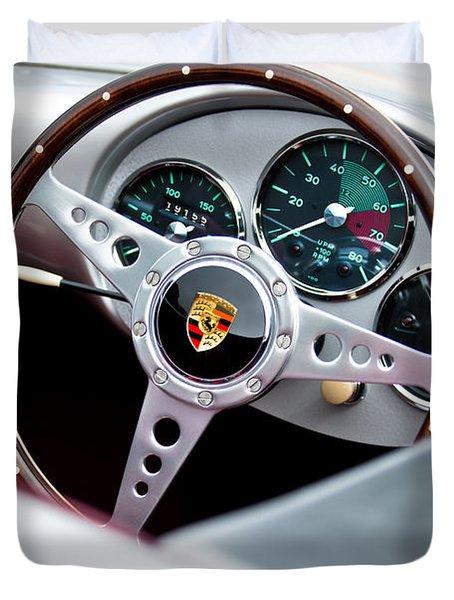 1955 Porsche Spyder Replica Steering Wheel Emblem Duvet Cover by Jill Reger