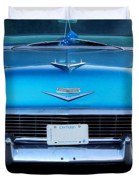 1956 Cheverolet In Blue Duvet Cover by Davandra Cribbie