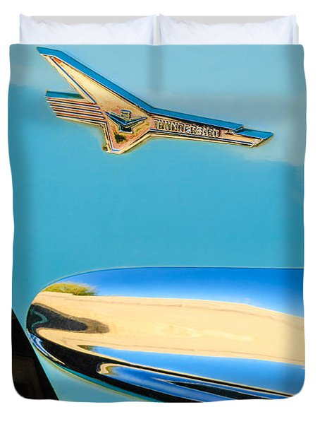 1956 Ford Fairlane Thunderbird Emblem Duvet Cover by Jill Reger