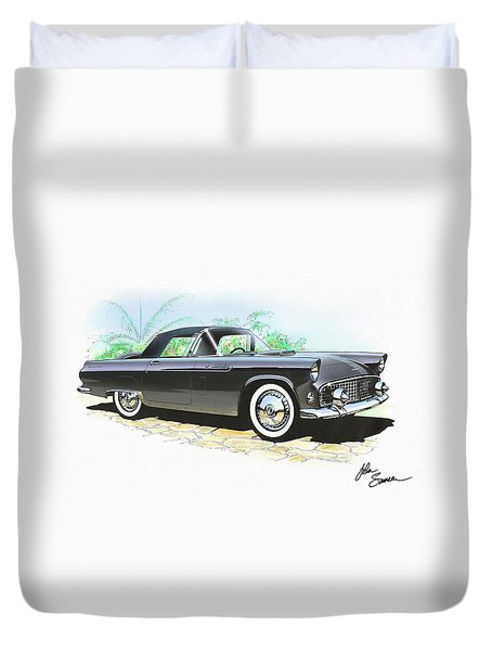 1956 Ford Thunderbird  Black  Classic Vintage Sports Car Art Sketch Rendering         Duvet Cover by John Samsen
