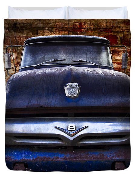 1956 Ford V8 Duvet Cover by Debra and Dave Vanderlaan
