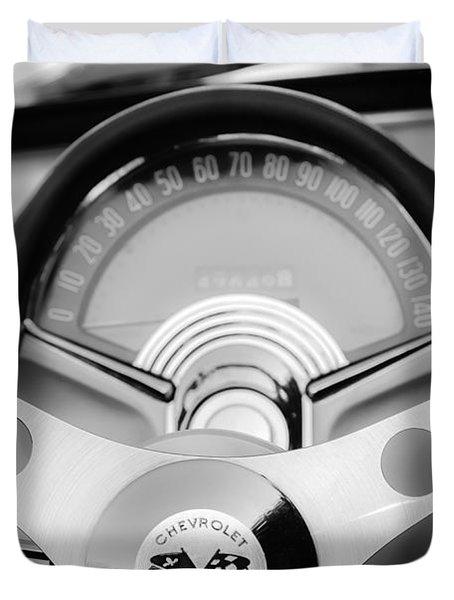 1957 Chevrolet Corvette Convertible Steering Wheel 2 Duvet Cover by Jill Reger