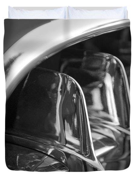 1957 Corvette Grille black and white Duvet Cover by Jill Reger