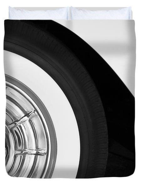 1957 Corvette Wheel Duvet Cover by Jill Reger