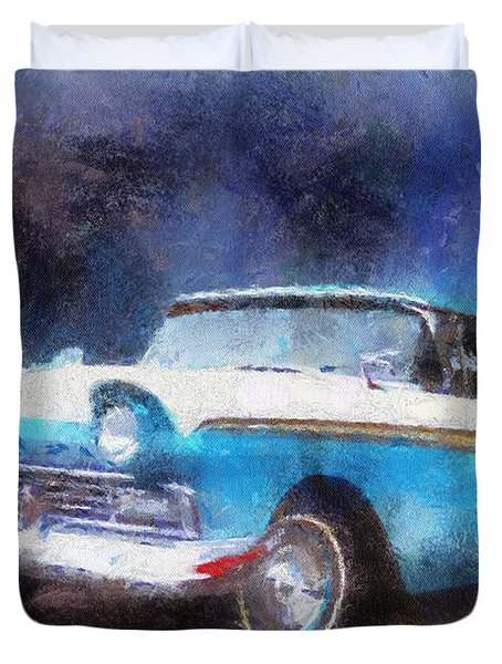 1957 Ford Classic Car Photo Art 02 Duvet Cover by Thomas Woolworth