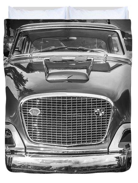 1957 Studebaker Golden Hawk BW Duvet Cover by Rich Franco