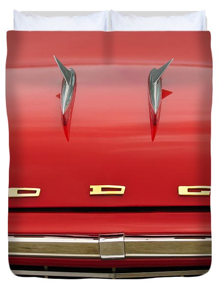 1958 Dodge Coronet Super D-500 Convertible Hood Ornament Duvet Cover by Jill Reger
