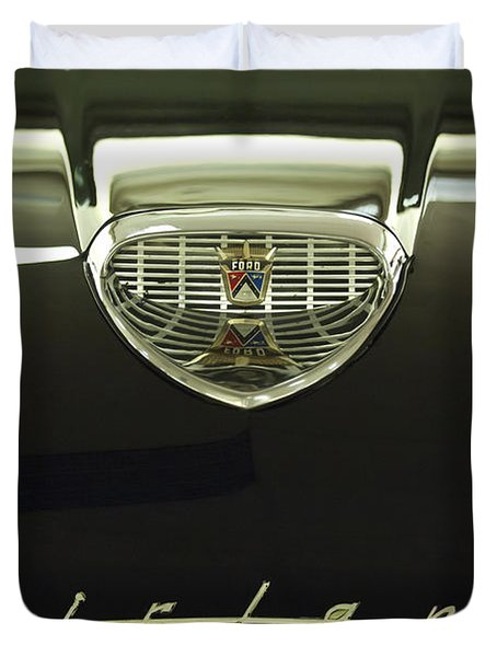 1958 Ford Fairlane 500 Victoria Hood Ornament Duvet Cover by Jill Reger