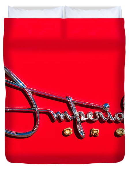 1958 Imperial Crown Convertible Emblem Duvet Cover by Jill Reger