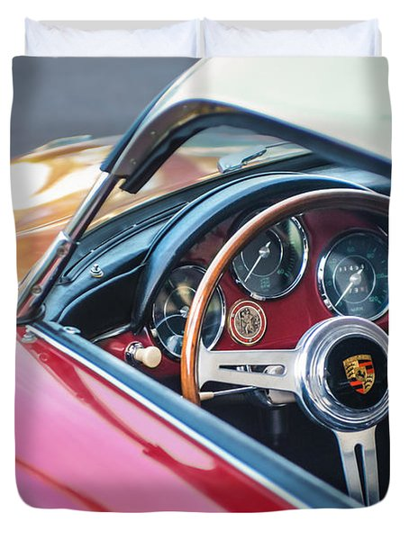 1958 Porsche 356 1600 Super Speedster Steering Wheel Duvet Cover by Jill Reger
