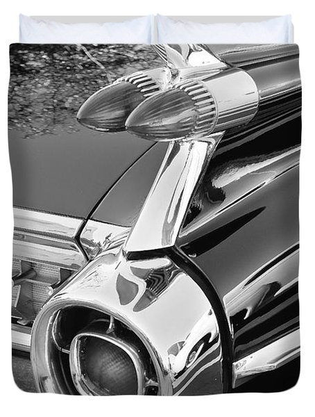 1959 Black and White Caddy Duvet Cover by Rich Franco