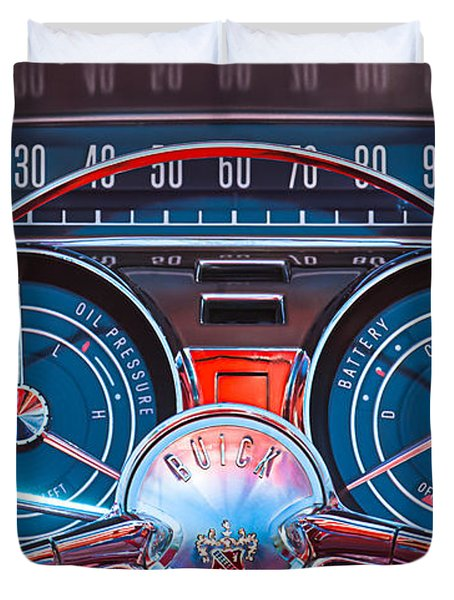 1959 Buick Lesabre Steering Wheel Duvet Cover by Jill Reger