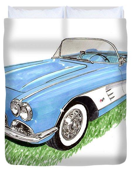 1959 Corvette frost blue Duvet Cover by Jack Pumphrey