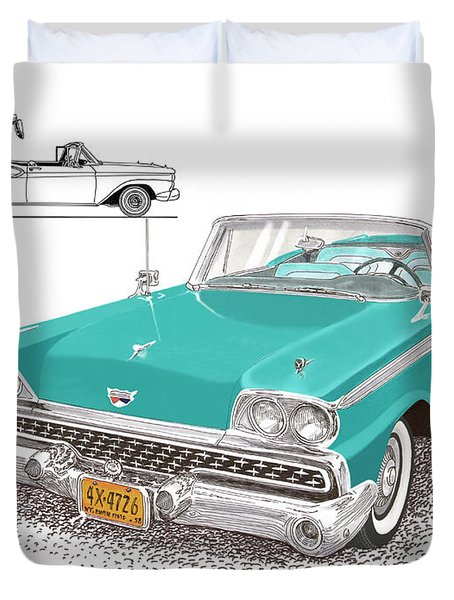 1959 Ford 500 Fairlane Retractable Hard Top Duvet Cover by Jack Pumphrey