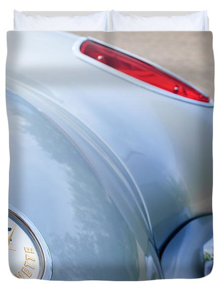 1960 Chevrolet Corvette Emblem - Taillight Duvet Cover by Jill Reger