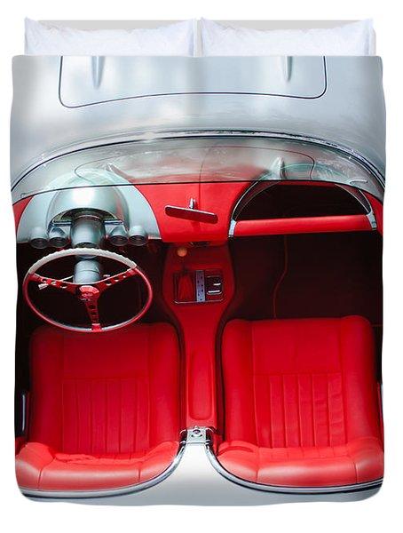 1960 Chevrolet Corvette Interior Duvet Cover by Jill Reger