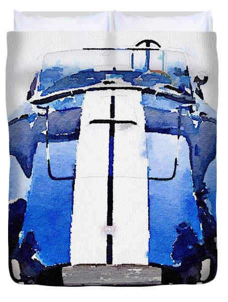 1962 Ac Cobra Shelby Watercolor Duvet Cover by Naxart Studio