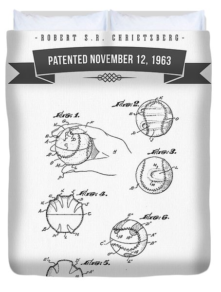 1963 Baseball Training Device Patent Drawing Duvet Cover by Aged Pixel