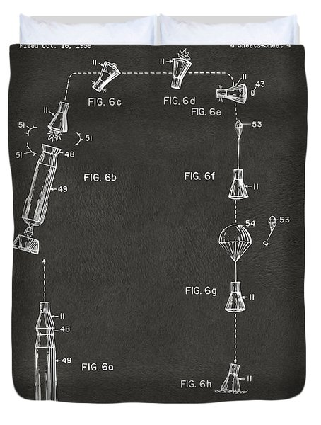 1963 Space Capsule Patent Gray Duvet Cover by Nikki Marie Smith