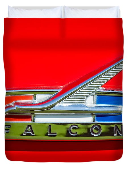 1964 Ford Falcon Emblem Duvet Cover by Jill Reger