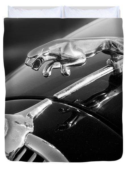 1964 Jaguar MK2 Saloon Hood Ornament and Emblem Duvet Cover by Jill Reger