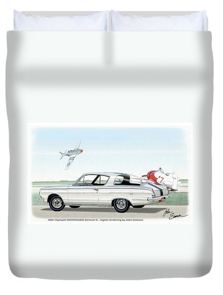 1965 Barracuda  Classic Plymouth Muscle Car Duvet Cover by John Samsen