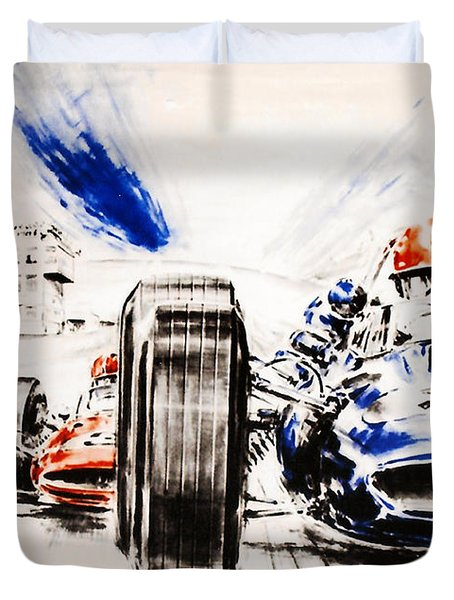 1965 Grand Prix de Paris Duvet Cover by Nomad Art And  Design