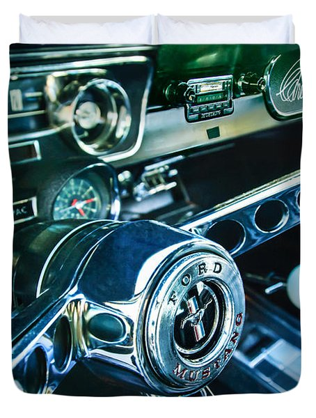 1965 Shelby prototype Ford Mustang Steering Wheel Emblem 2 Duvet Cover by Jill Reger