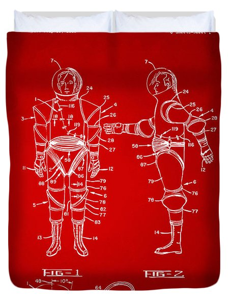 1968 Hard Space Suit Patent Artwork - Red Duvet Cover by Nikki Marie Smith